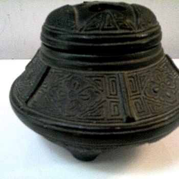 "Nippon Black Pottery Incense Burner/3.5"" Dia. Pierced Lid With Incised Decoration/ Circa 1890-1900 - Asian"