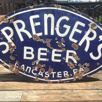 Sprenger's Beer Porcelain Sign - Breweriana