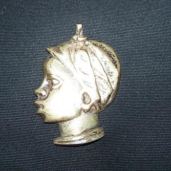 World War II Casablanca Souvenir Silver Woman Head Pendant