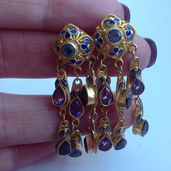 Silver gilt earrings - Asian