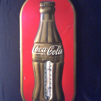 1937 Gold Bottle Coke Thermometer - Coca-Cola