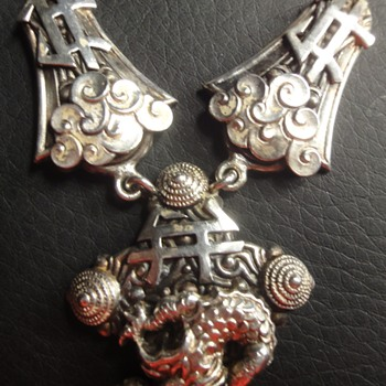 Rare Max Neiger Silver Dragon Necklace - Costume Jewelry