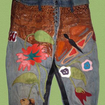 #1 ~ HAIR! Gerome Ragni's Original Designer Hippie Denim & Leather Jeans - Mens Clothing