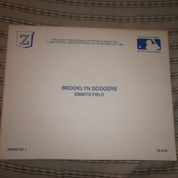 Ebbet's Field/Brooklyn Dodgers Litho Autographed by 6 Dodgers