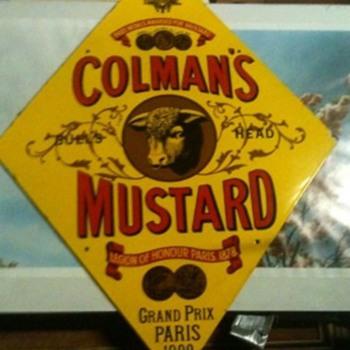 Vintage Enamel COLMAN'S MUSTARD sign 1977. - Signs