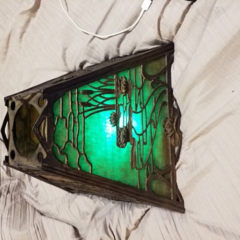 Mystery green slag glass shade - Lamps