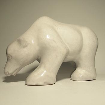 Clay polar bear figurine - Jihoceska Keramika Czechoslovakia - Pottery