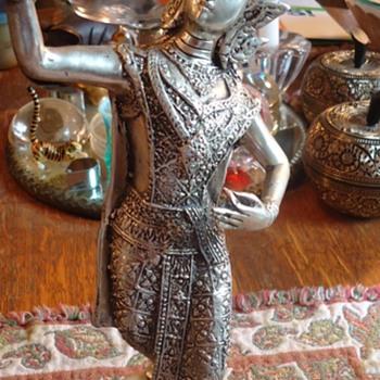 Silver colored Thai Woman  Dancing statue