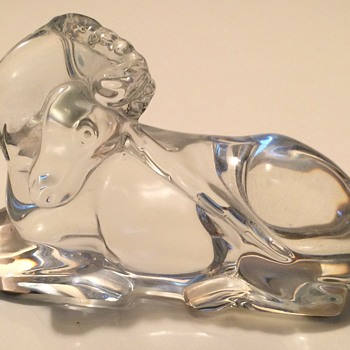 French Baccarat Crystal Unicorn Figurine - Art Glass