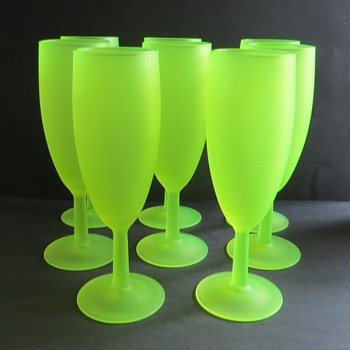Green Frosted Glass Flutes - Marked France - Uranium Glass - Glassware
