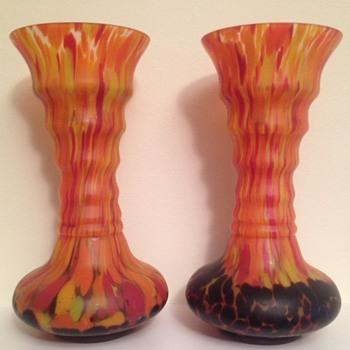Satin bottom-up spatter pair  - Art Glass