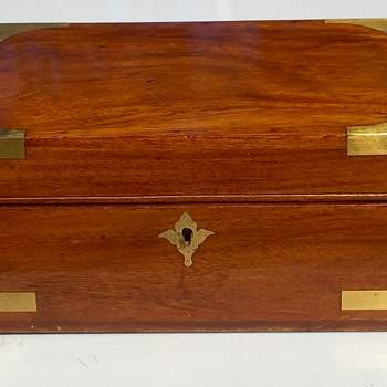 Antique 1870's African Cherry Brass Strapped Jewelry Box Beautiful Color of Exotic Wood - Victorian Era