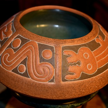 Large Decorated Mexican Bowl - Pottery