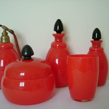 Art Deco Tango Glass Vanity Set - Art Glass