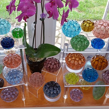 Colorful glass flower frogs - Art Glass