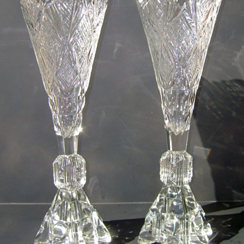 Pair of Antique Crystal Vases - Glassware