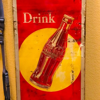 Recent acquisition 1930's metal Coca Cola Yellow Dot sign - Coca-Cola