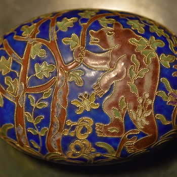 Cloisonne Trinket Box with Grizzly Bear in a Forest - Asian