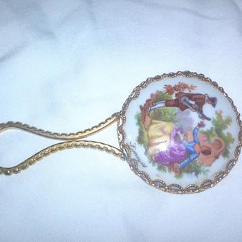 "vintage Limoges porcelain hand mirror. ""serenade"" - Victorian Era"