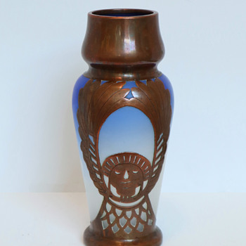 Fritz Heckert(?) Frosted Blue to Clear Vase with Egyptian-style Copper Overlay - Art Glass