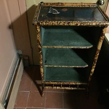 Antique English tiger bamboo bookcase  - Victorian Era