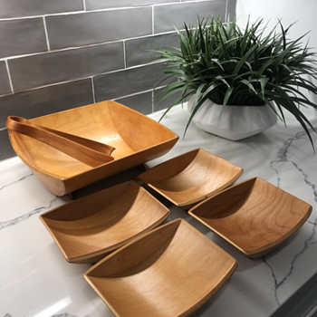 Bent Plywood Bowl Serving Set by Glenwood - Mid-Century Modern