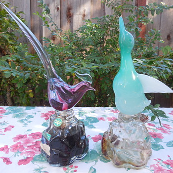 Murano Glass Archimede Seguso Alabastro Duck and Pheasant Decanters - Art Glass