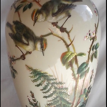 BIG BOHEMIAN BIRD VASE -  HARRACH ?  MÜHLHAUS ? - Art Glass
