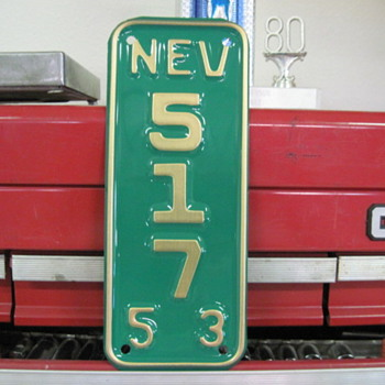 1953 Nevada Motorcycle License Plate