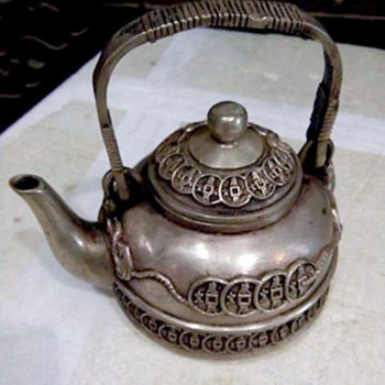 China Pewter / Silver Teapot Signed with Mark on Base - China and Dinnerware