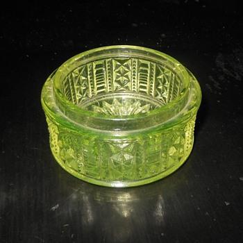Vaseline Glass Trinket Dish Possible Early American Pattern Glass EAPG - Glassware