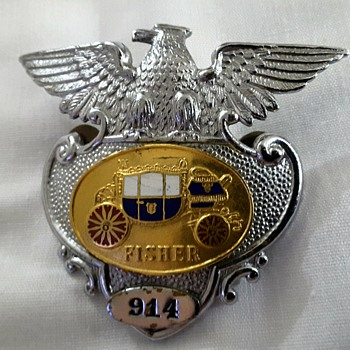 Fisher Body Badges  - Silver Eagle with a Gold Overlay of Fisher Stage Coach & Fisher Body Division Police Badge # 904 - Medals Pins and Badges