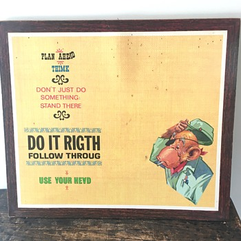 Unusual Vintage Monkey Cork Board / Sign - Plan Ahead. Thimk.