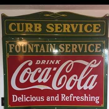 1930s Coca Cola Fountain Service & Curb Service Sign - Coca-Cola