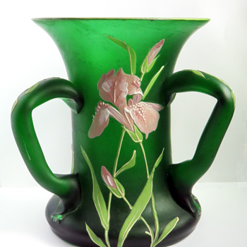 Goldberg Three-handled Iris Vase - Art Glass