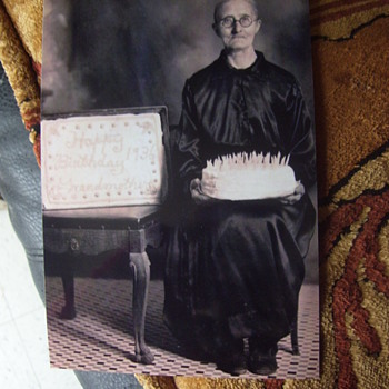 Someone's Granny, 100 years old! Birthday Cake And Needlework Pillow.  Sweet! - Photographs