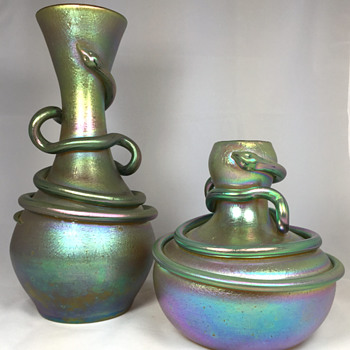 "Loetz ""Silberiris with Snake"" Vases. 11"" and 6.5"" tall. Circa 1899-1900 - Art Glass"