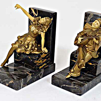 Set Of Art Deco Bookends, Harlequin, Pierott and Columbine - Art Deco