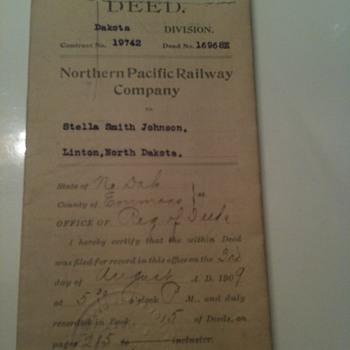 Northern Pacific Railways Deed  - Railroadiana