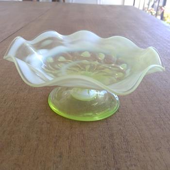 Small Victorian Vaseline Opalescent Tazza - Art Glass