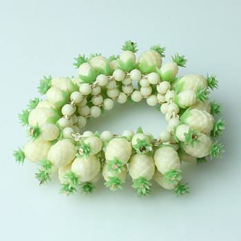 Celluloid pinapple and flower bracelets