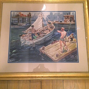 Original Watercolor Painting Sailing Bathers Homoerotic Signed - Fine Art