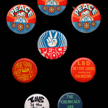 Recent Acquisitions: Hippie Era Anti Vietnam War & Drug Culture Pinback Buttons - Medals Pins and Badges