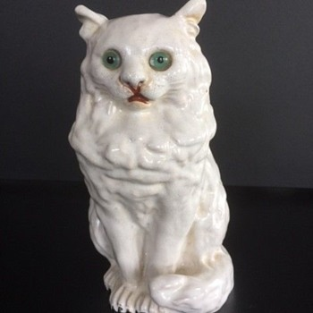 Antique French Terra Cotta Tin Glaze Bevant Cat / Goodwill Find - Animals