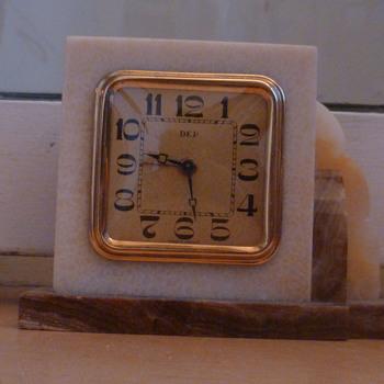 Antique DEP marble Art Deco 1930's French mantle clock.