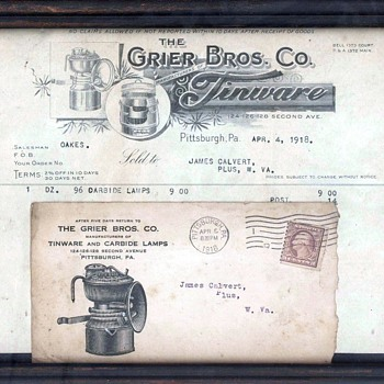 Grier Bros. Pittsburgh PA. Framed Invoice dated 1918 - Paper