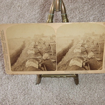 Stereoview of Cavalrymen fighting from trenches - Military and Wartime