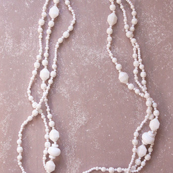 Trifari TM Three Strand White Plastic and Acrylic Beads Necklace - Costume Jewelry