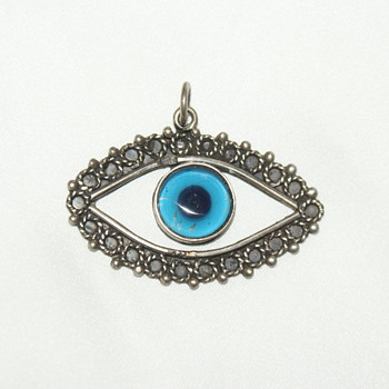 Large Evil Eye Vintage Glass and Sterling Pendant - Fine Jewelry