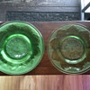 Green Glass Depression Era Bread Plates